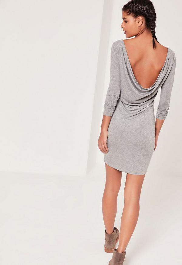 Cowl Back Bodycon Dress Grey