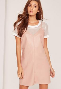 2-in-1-Lederimitat-Minikleid in Pink