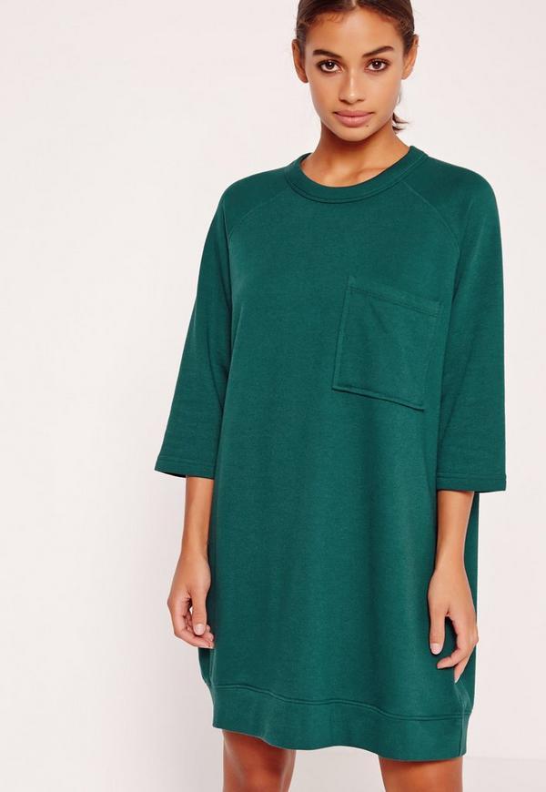Oversized Pocket Front Dress Green