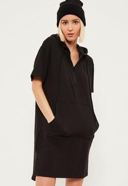 Czarna owersajzowa sukienka bluza