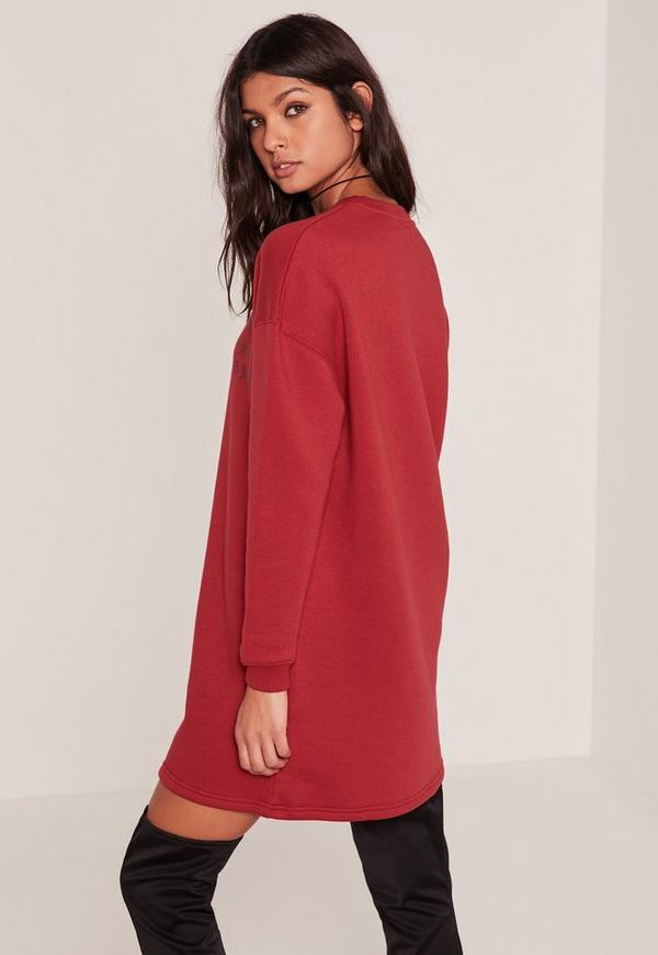 Red Words Oversized Sweater Dress | Missguided