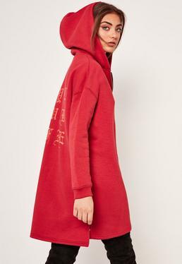Red Slogan Zip Front Oversized Hoody