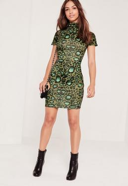 High Neck Bodycon Dress Animal Print Multi
