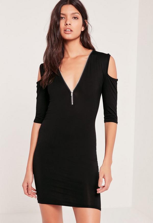 Cold Shoulder Zip Bodycon Dress Black