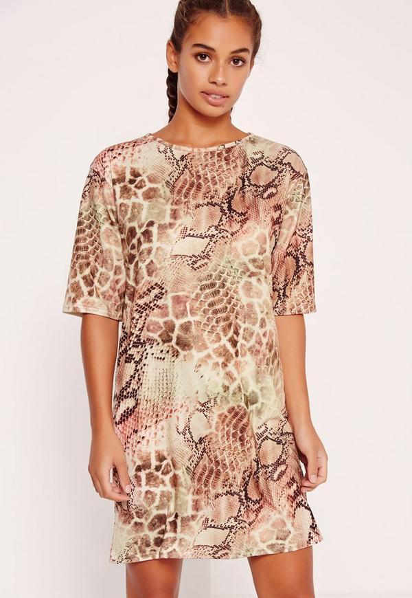 Snake Print Oversized T Shirt Dress