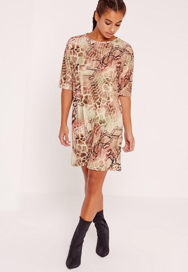 snake print oversized t shirt dress missguided