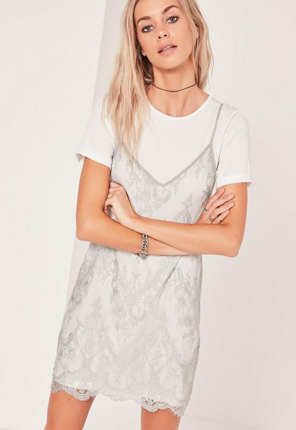 Lace 2 in 1 Dress Grey