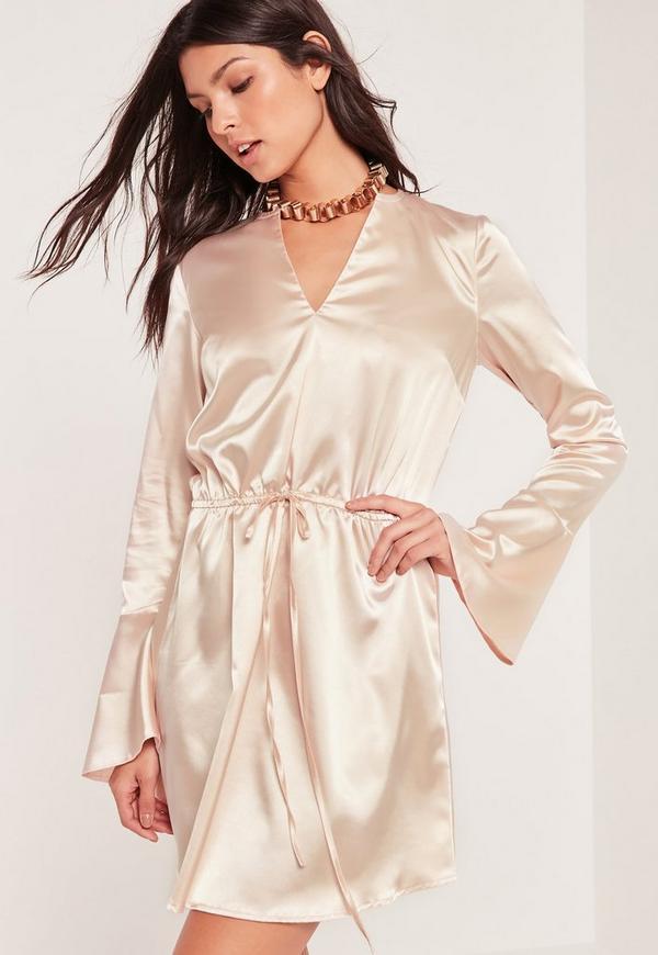 silky flute sleeve drawstring waist dress nude