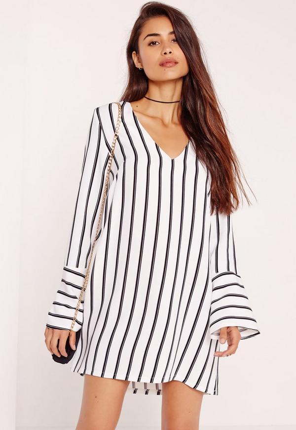 Stripe Flute Sleeve V Neck Shift Dress White