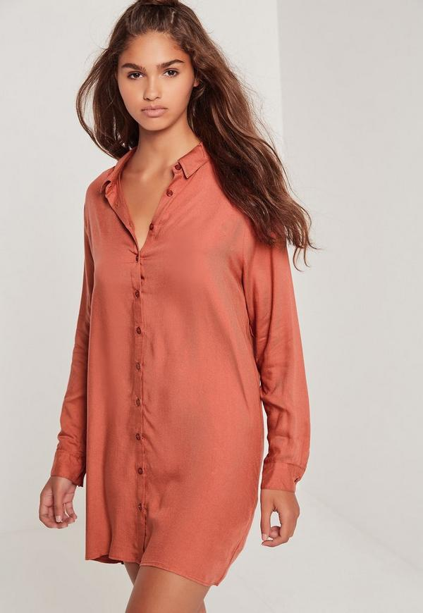 Oversized Shirt Dress Pink