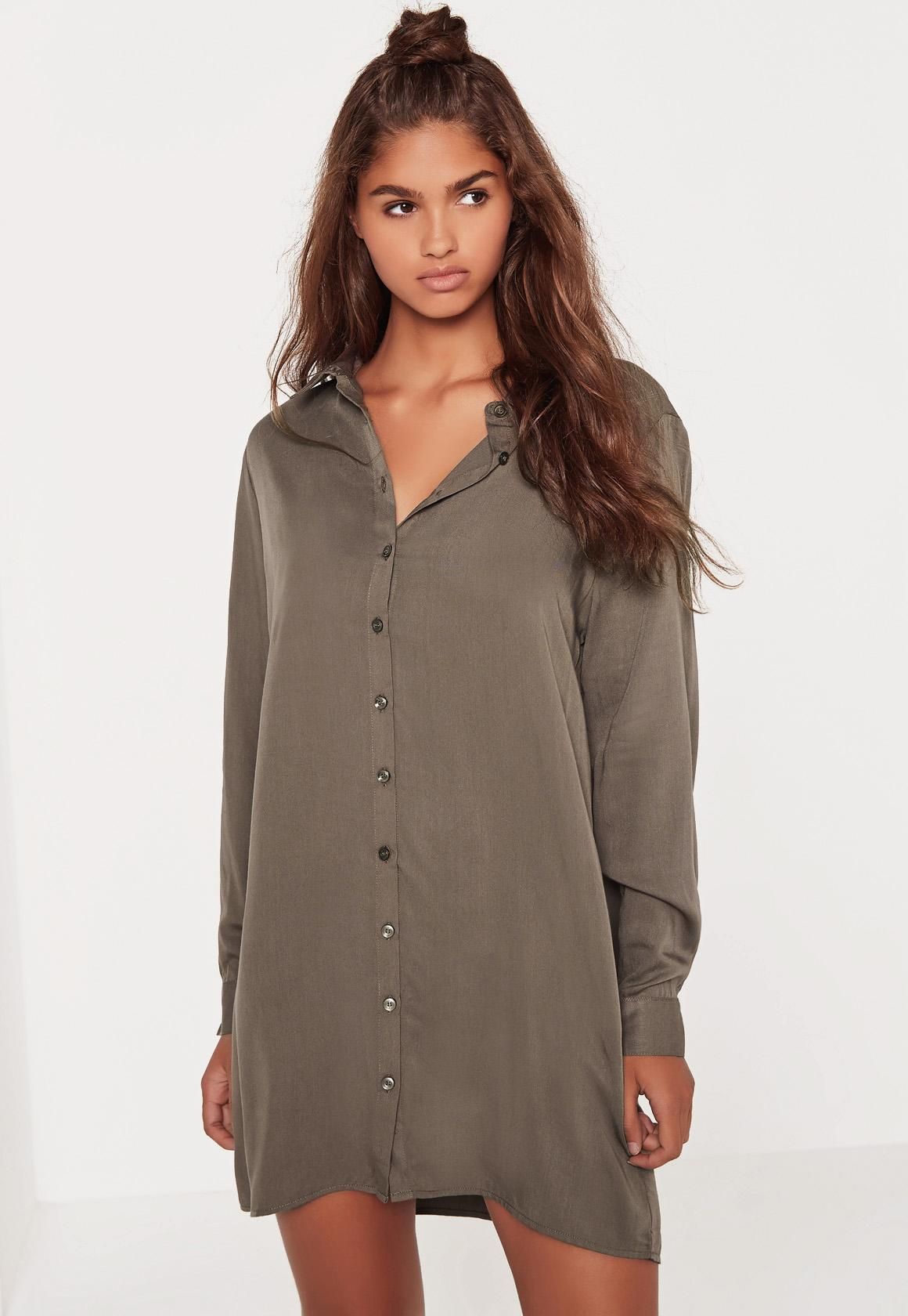 Oversized Shirt Dress Khaki - Missguided