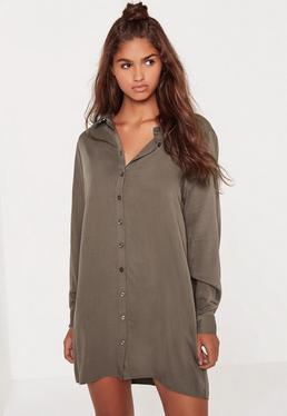 Owersajzowa sukienka koszulowa w kolorze khaki