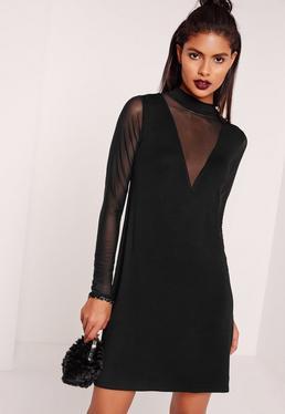 Mesh Insert Sleeve Swing Dress Black