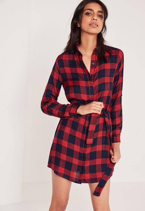robe chemise rouge carreaux missguided. Black Bedroom Furniture Sets. Home Design Ideas