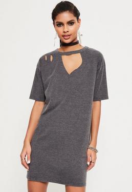 Grey Ripped Oversized T Shirt Dress
