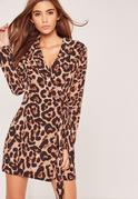 Brown Leopard Tie Side Dress