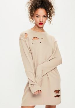 Ripped Oversized Sweater Dress Grey