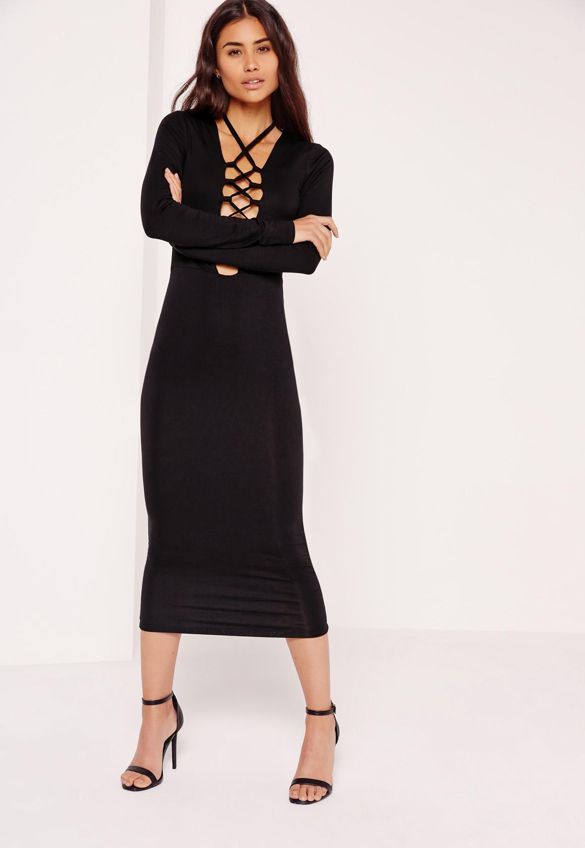 Lace Up Front Midi Dress Black