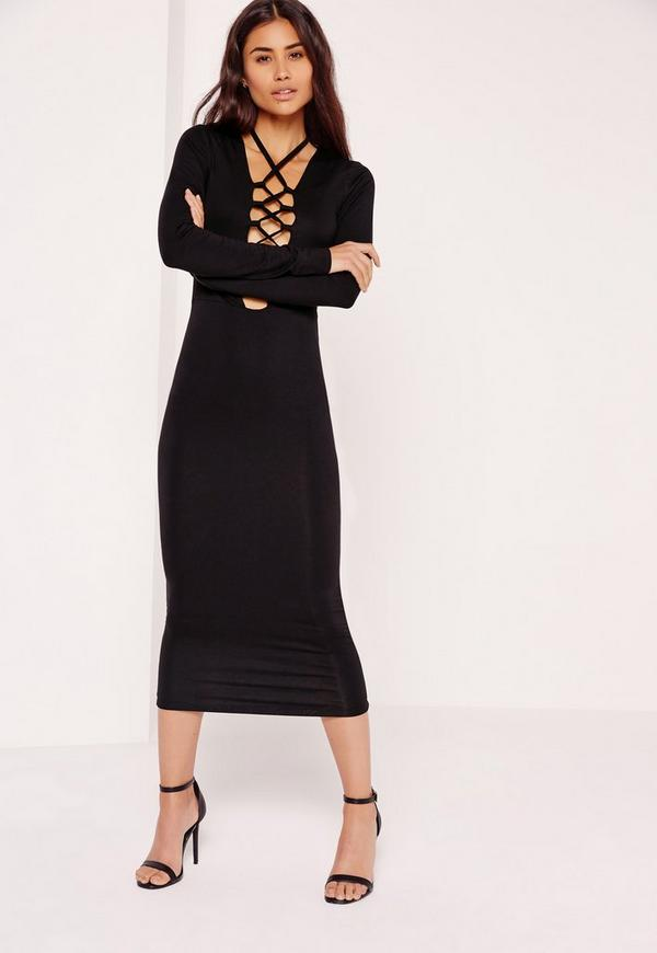 Lace Up Front Midi Dress Black