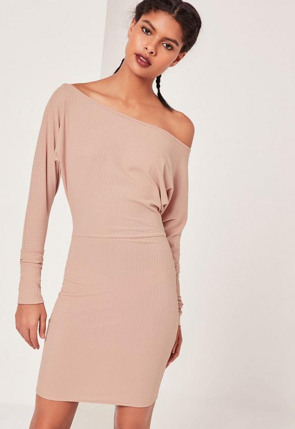 Slouchy One Shoulder Mini Dress Nude