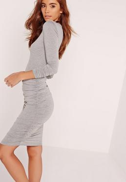 Long Sleeve Ruched Bodycon Dress Grey