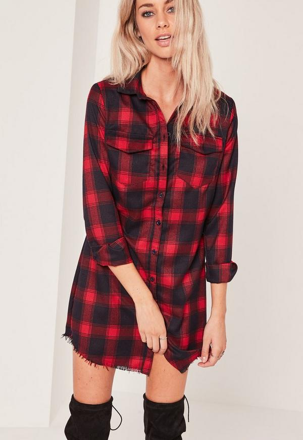 Blue and Red Check Shirt Dress