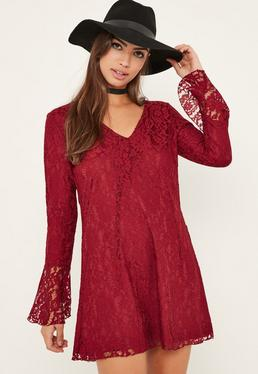 RED LACE FLUE SWING DRESS