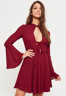 Burgundy Oriental Button Tie Front Skater Dress