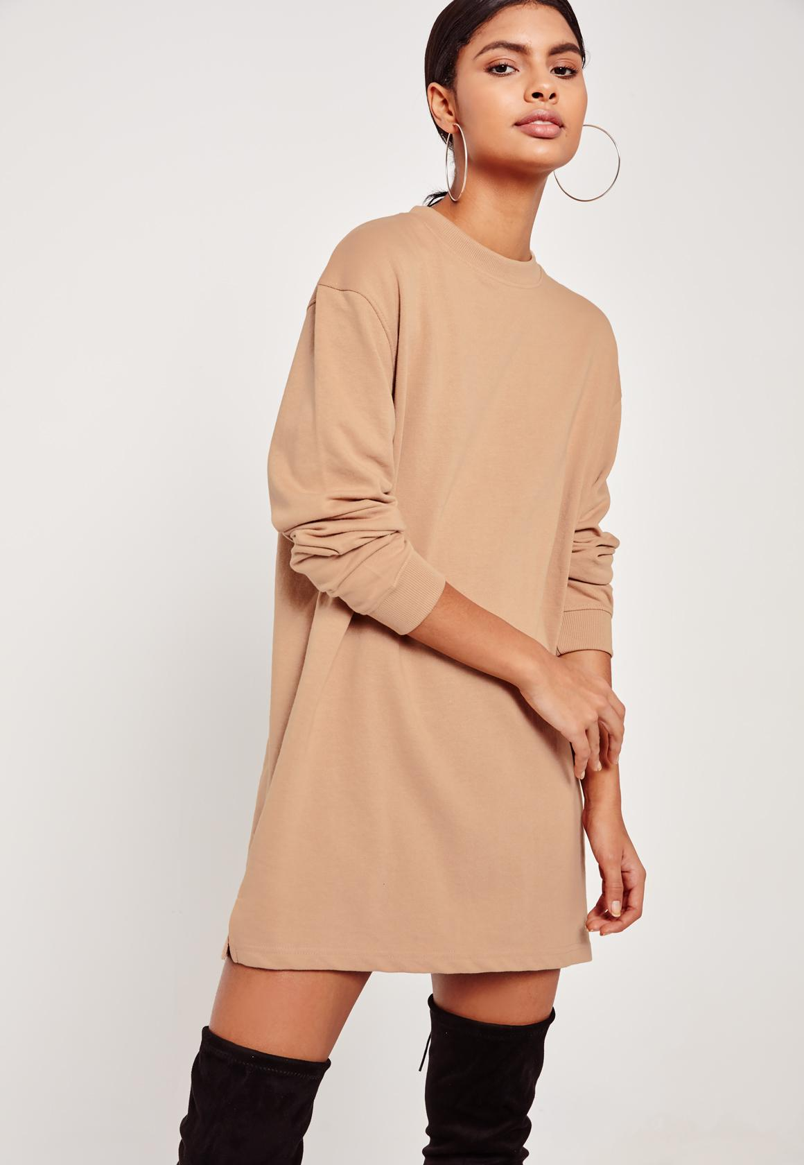 Nude Oversized Long Sleeve Sweater Dress | Missguided