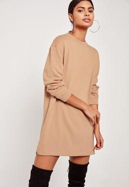 Oversized Long Sleeve Jumper Dress Nude