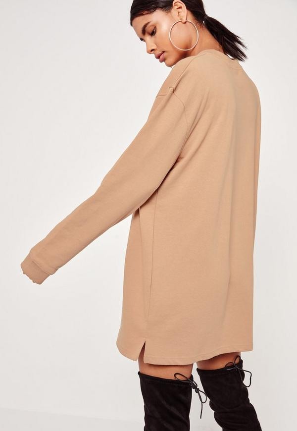 Nude Oversized Long Sleeve Sweater Dress   Missguided