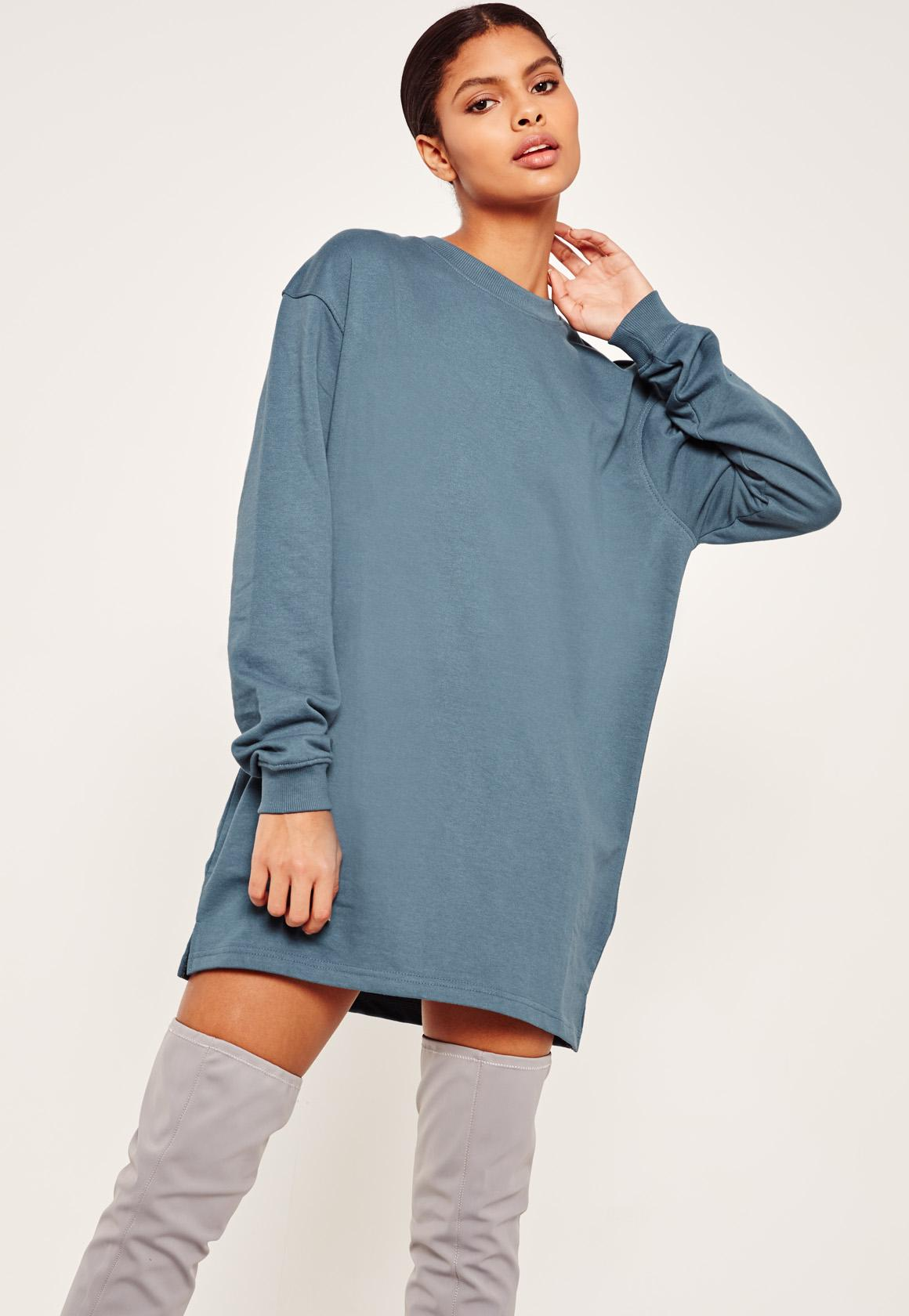 Blue Oversized Long Sleeve Sweater Dress | Missguided