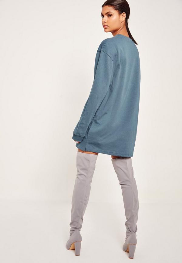 Blue Oversized Long Sleeve Sweater Dress   Missguided