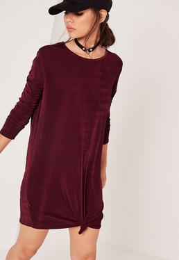 Long Sleeve Slinky Knot Front Dress Purple