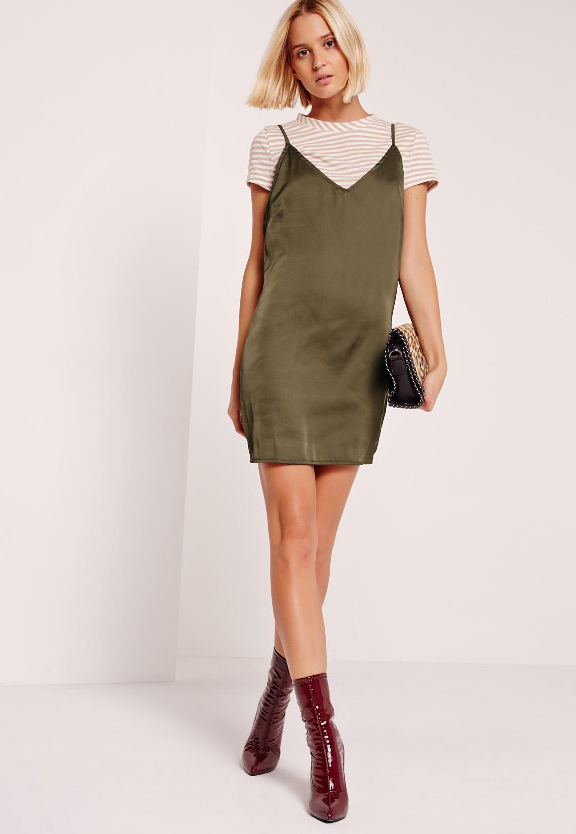 Stripe Khaki 2 in 1 Dresses