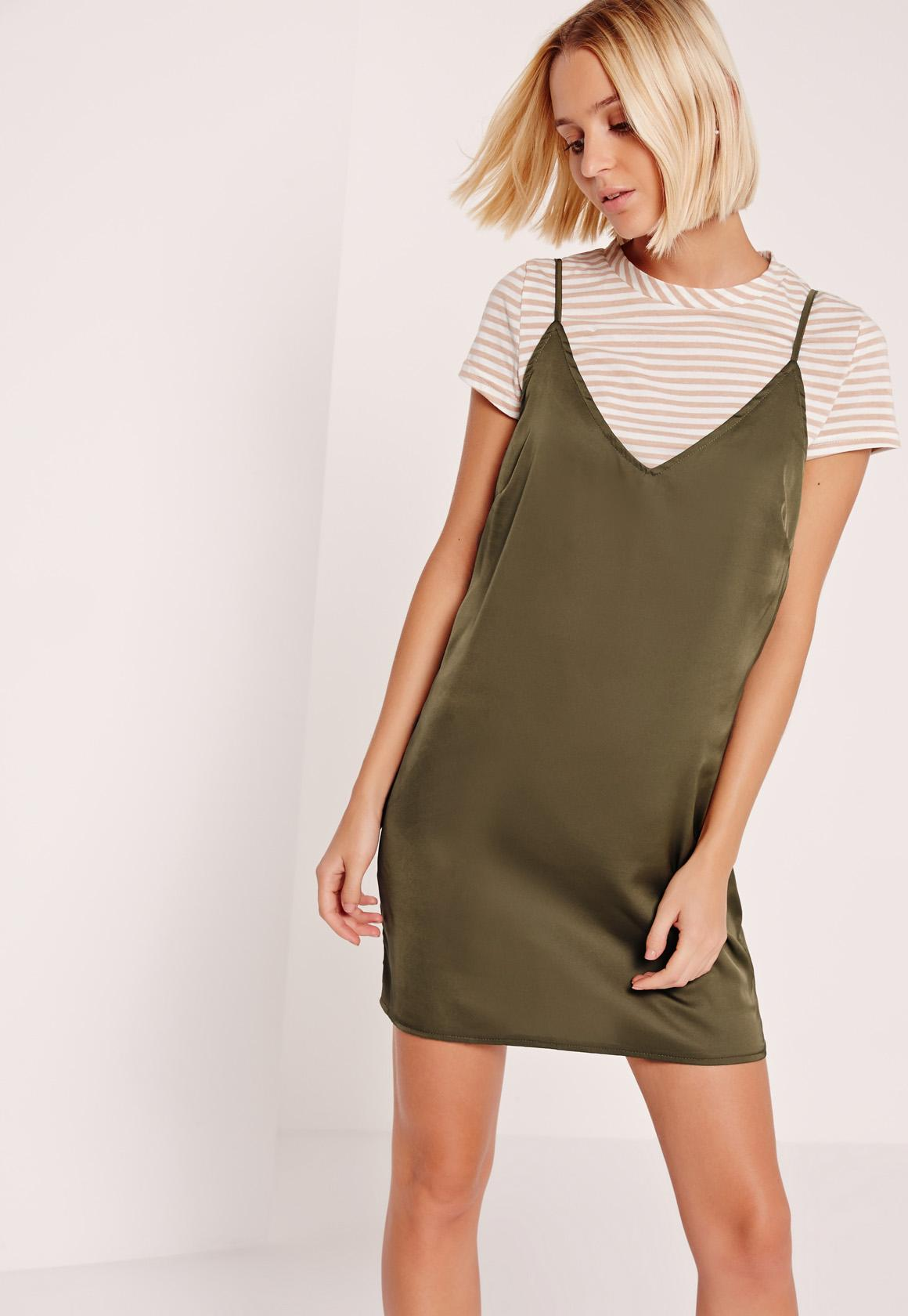 Stripe Khaki 2 in 1 Dresses