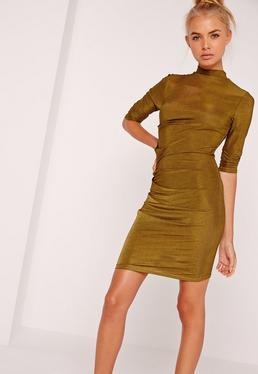 Long Sleeve Bodycon Dress Khaki