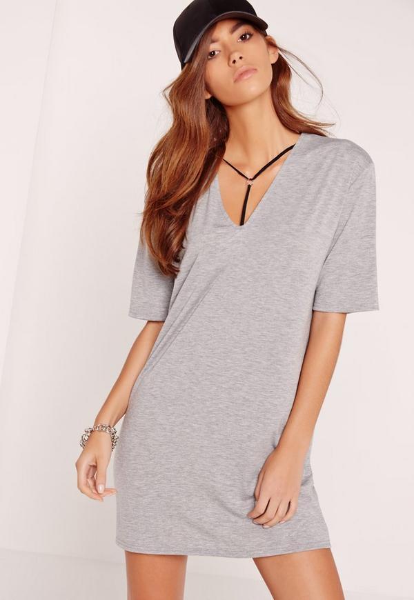 Harness Detail T-Shirt Dress Grey