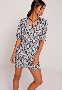 Harness Detail T-Shirt Dress Snakeskin