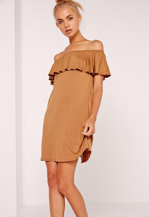 Bardot Frill Jersey Dress Camel
