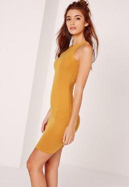 Jersey Racer Bodycon Dress Yellow