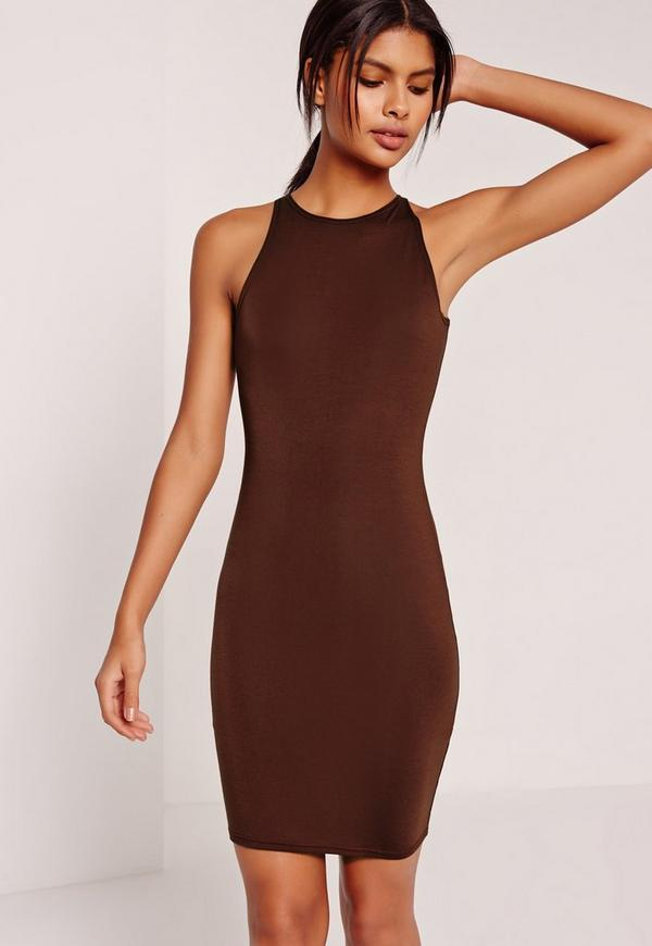 Jersey Bodycon Mini Dress Brown