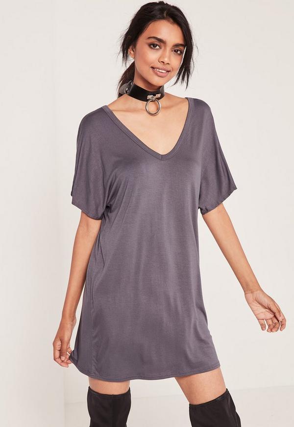 Wide V-Neck T-Shirt Dress Grey