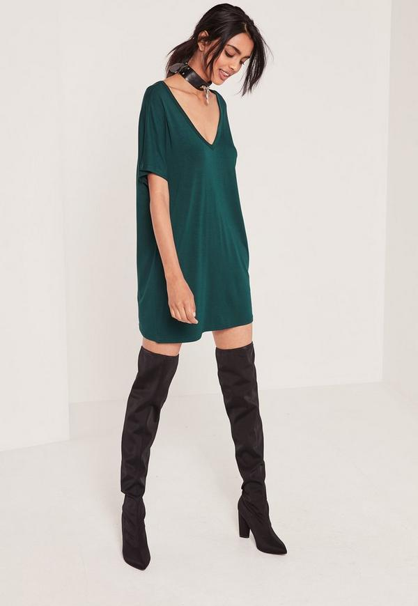 Wide V-Neck T-Shirt Dress Green
