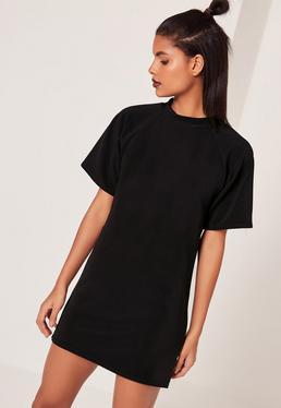 Robe T-shirt noire oversize manches courtes