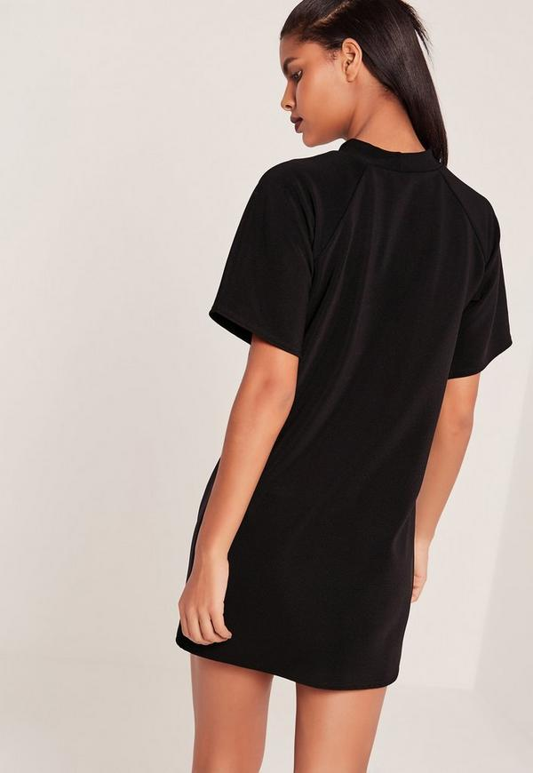 short sleeve oversized t shirt dress black missguided. Black Bedroom Furniture Sets. Home Design Ideas