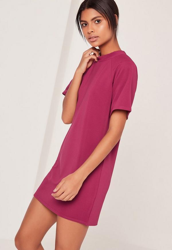 Short Sleeve Oversized T-Shirt Dress Pink