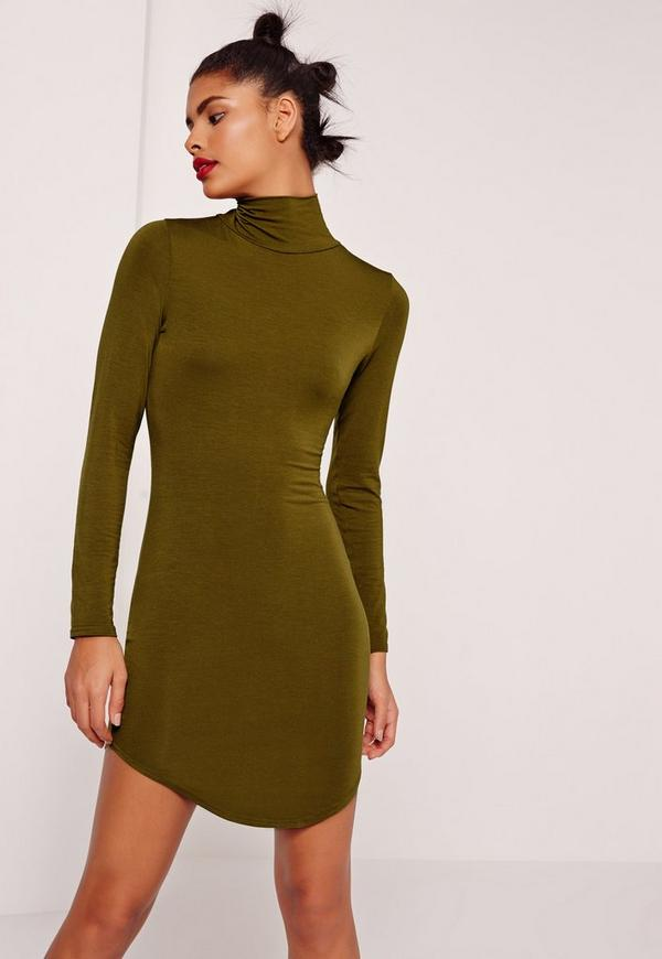Curve Hem Roll Neck Bodycon Dress Khaki