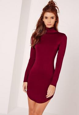 Curve Hem Roll Neck Bodycon Dress Burgundy