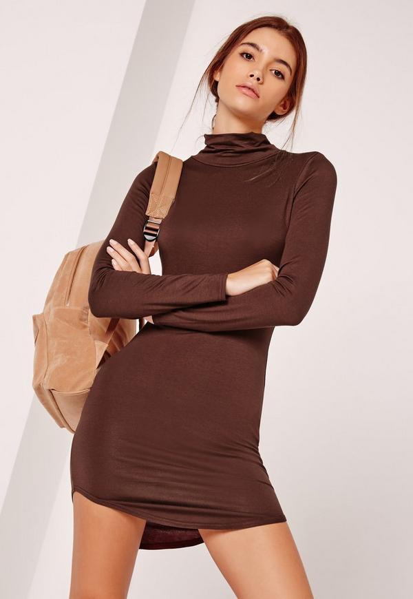 Curve Hem Roll Neck Bodycon Dress Brown